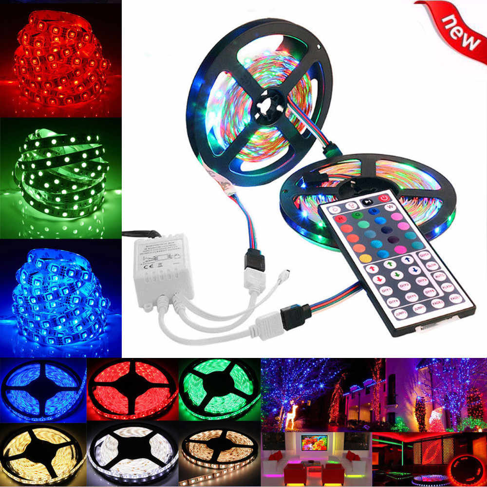 2X Waterproof RGB 5M 5050 SMD 300 LED Flexible Strip /& 44 Key Remote Control 12V
