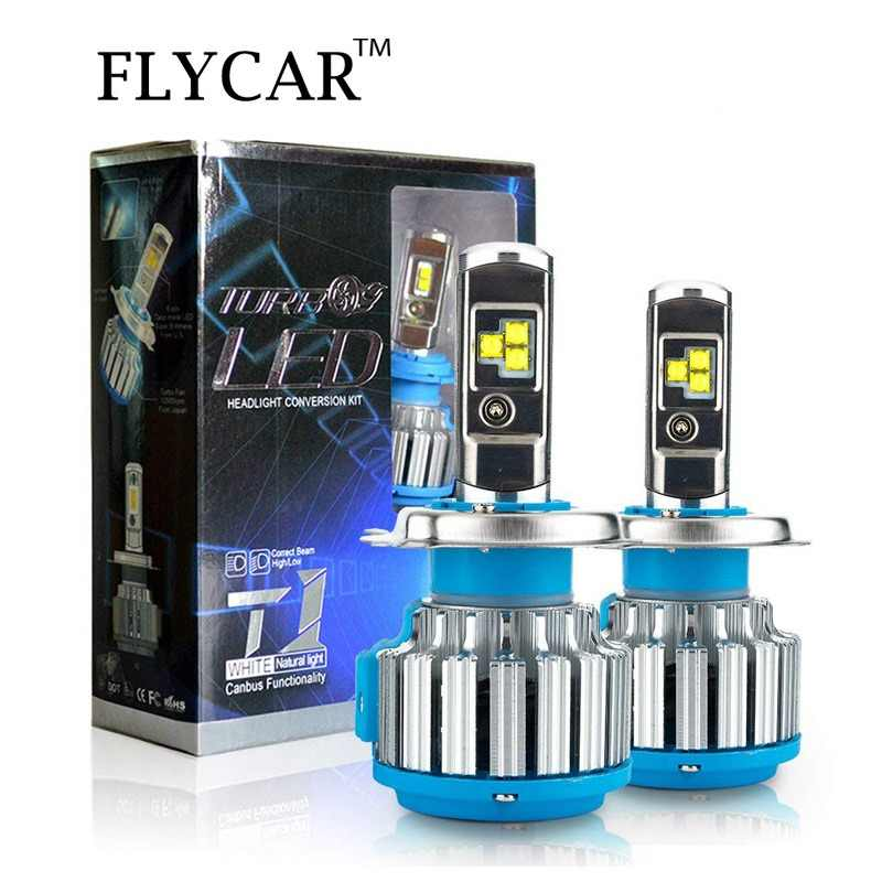 FLYCAR T1 Turbo LED Headlight Bulb 60W 7200LM LED Headlamp Conversion Kit Turbo LED H4 H1 H3 H7 H11 9004 9007 9005 HB3 9006 HB4