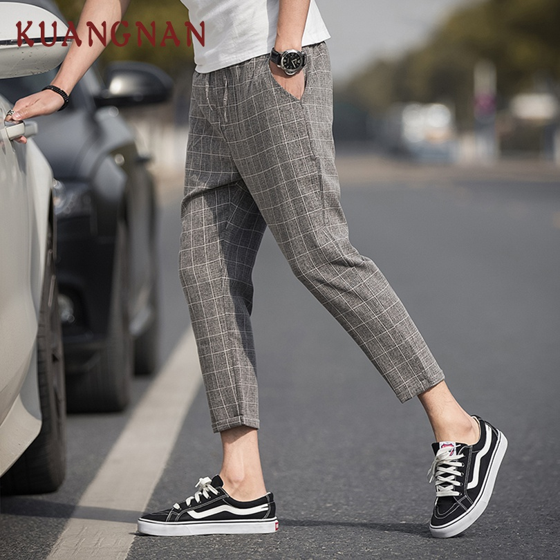 KUANGNAN Plaid Pants Men Trousers Linen Hip-Hop Ankle-Length Streetwear Men New