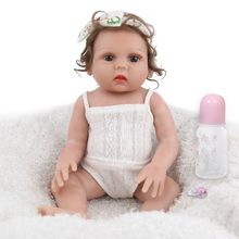 19inch Full Silicone Vinyl Newborn Babies Curls Girl Princess Lifelike Handmade Toy Children Gifts Realistic Reborn Soft Doll 23 inch lifelike reborns silicone vinyl full body babies dolls 57 cm realistic newborn doll gold hair reborn girl princess gifts