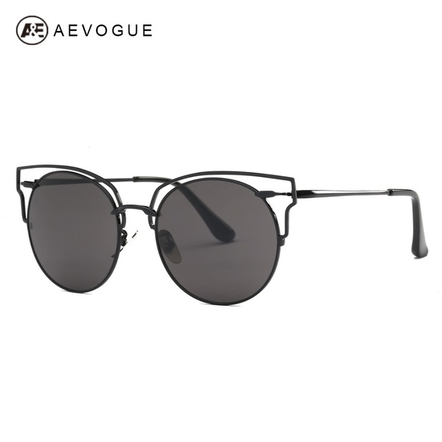 AEVOGUE Sunglasses Women Cat Eye Copper Oversized Hollow Frame Single-Beam Brand Designer Sun Glasses UV400 With Box AE0467