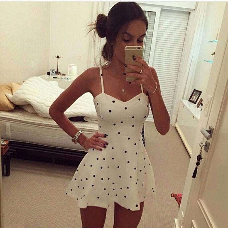Dot Design Summer Style Dress Womens Sexy Boho Short Mini Dresses Ladies Summer Beach Party Sundress Vestido De Festa Size S/M/L