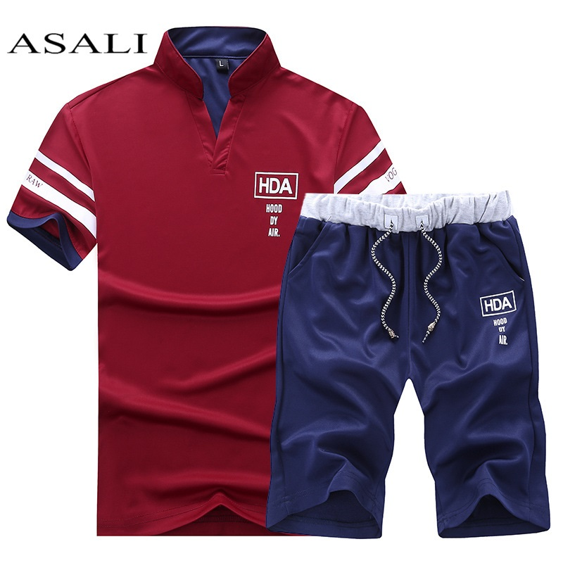 Men Casual Stand Collar Male  T Shirt +Pants 1
