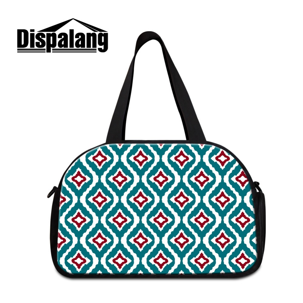 Dispalang 2017 Geometric Drawing Travel Bags for Women Floral Shoulder Duffle Bag Branded Large Capacity Luggage Bag <font><b>Day</b></font> Bags image