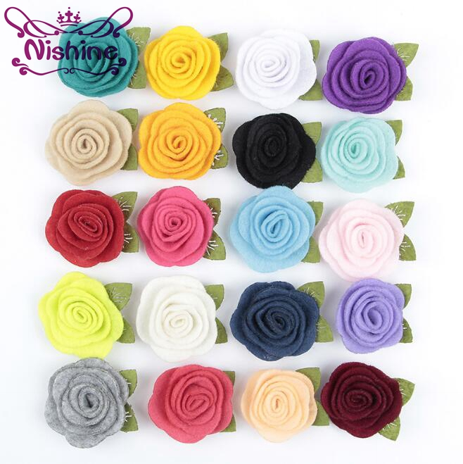 Nishine 20pcs/lot Nonwovens Fabric Flowers With Leaves For Kids Hair Accessories Rolled Rose Felt Hair Flowers For Hair Clips