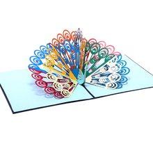 3b7e8e326 Multi-Color del Pavo Real 3D Tarjeta de tarjeta de felicitación hecha a  mano de