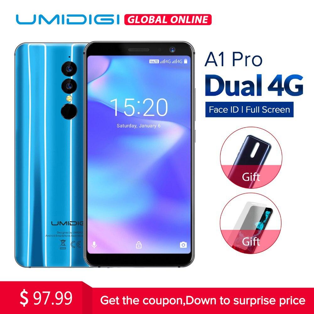 Umidigi A1 Pro Глобальный Версия двойной 4G пусть смартфон 18:9 полный Экран 3 ГБ + 16 ГБ 3150 мАч Android 8,1 face ID 13MP MT6739 телефона