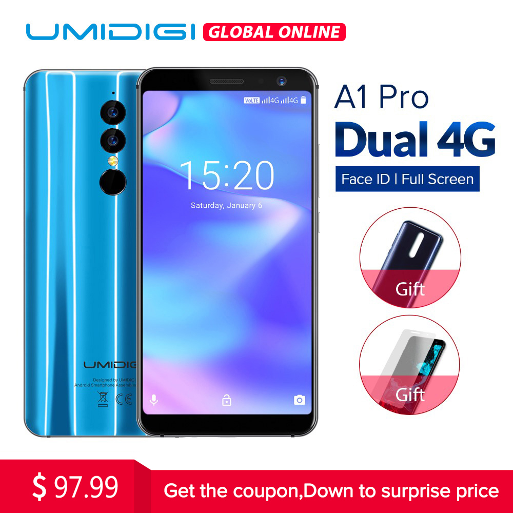 Umidigi A1 Pro Versão Global Dual 4g LET Smartphone 18:9 Tela Cheia 3 gb + 16 gb 3150 mah android 8.1 Face ID 13MP MT6739 Celular