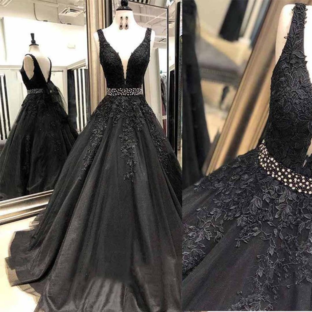 New Designer Evening Gowns Black abiye Elegant Formal Dresses Beads robe de soiree Tulle Appliques Party Dress Belt Long formal wear
