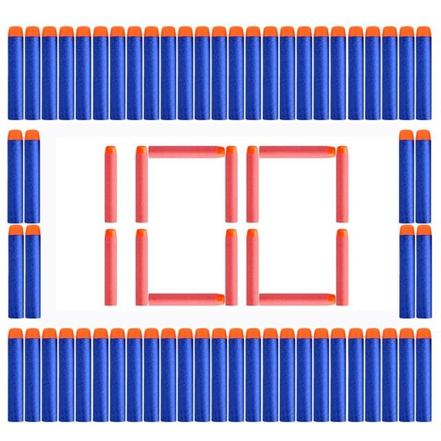 100PCs Soft Hole Head 7.2cm*1.3CM Refill Darts Toy Gun Accessories EVA Bullets For Nerf Retaliator Series Blasters Mega Children
