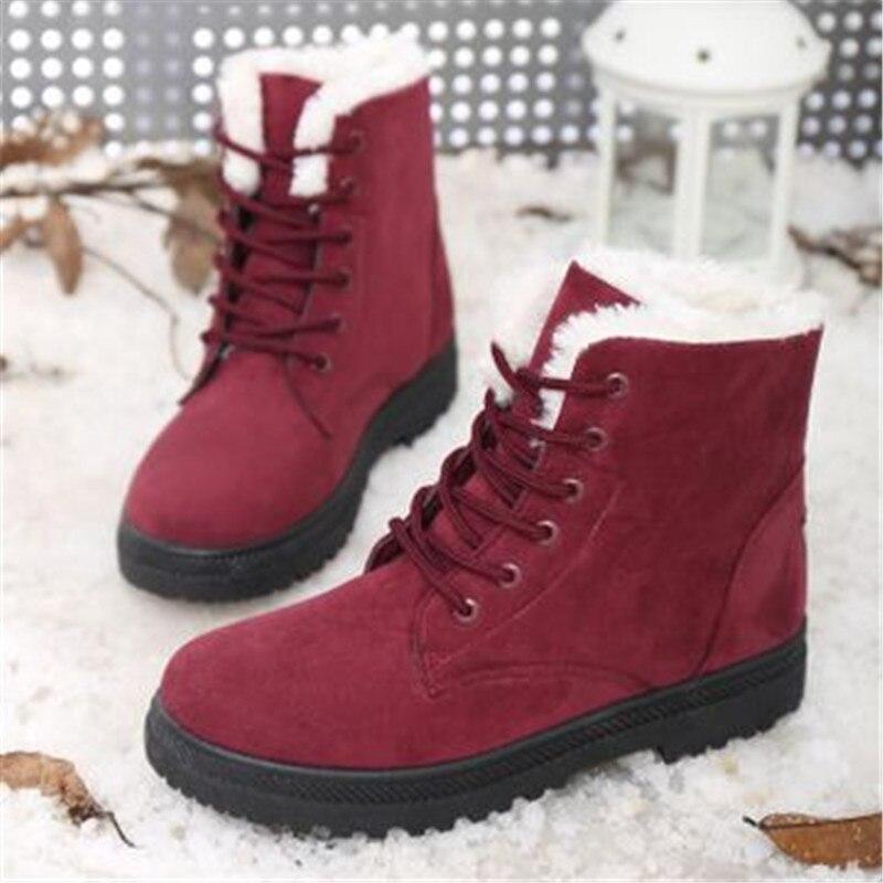 Navidad Mujer Botas de invierno caliente de Botas de encaje zapatos casuales zapatos de Mujer Botas de nieve Botas planas para mujeres Mujer Botte femme