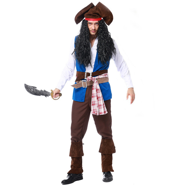 d009e13f US $31.64 35% OFF Mens Ahoy Matey High Seas Pirate Costume Adult Buccaneer  Captain Fancy Dress Jack Sparrow Cosplay outfit-in Anime Costumes from ...