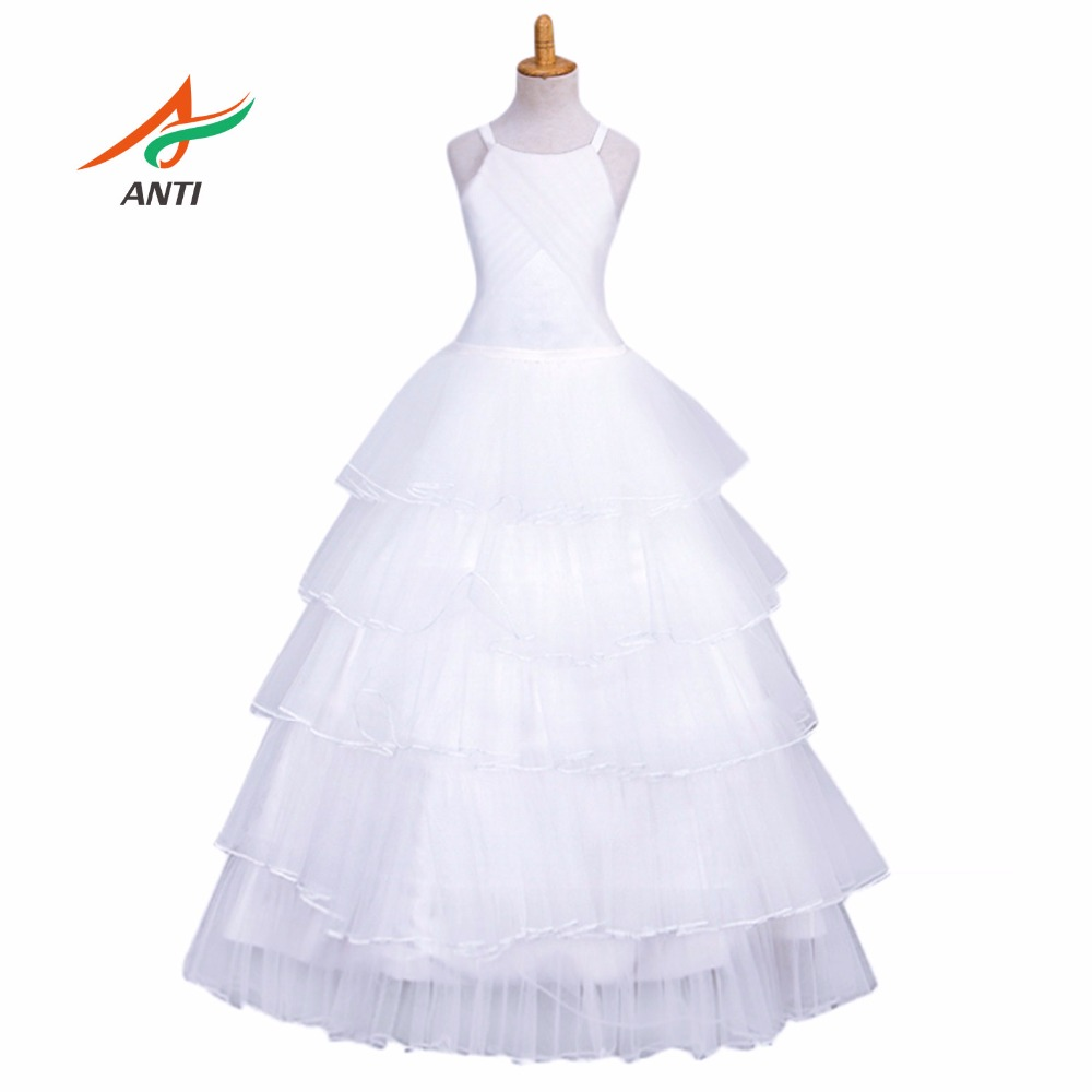Anti 2018 New Design Flower Dresses For Weddings Elegant Tiered Gown 3 14 Age Designer Gowns Kids Hqy2081