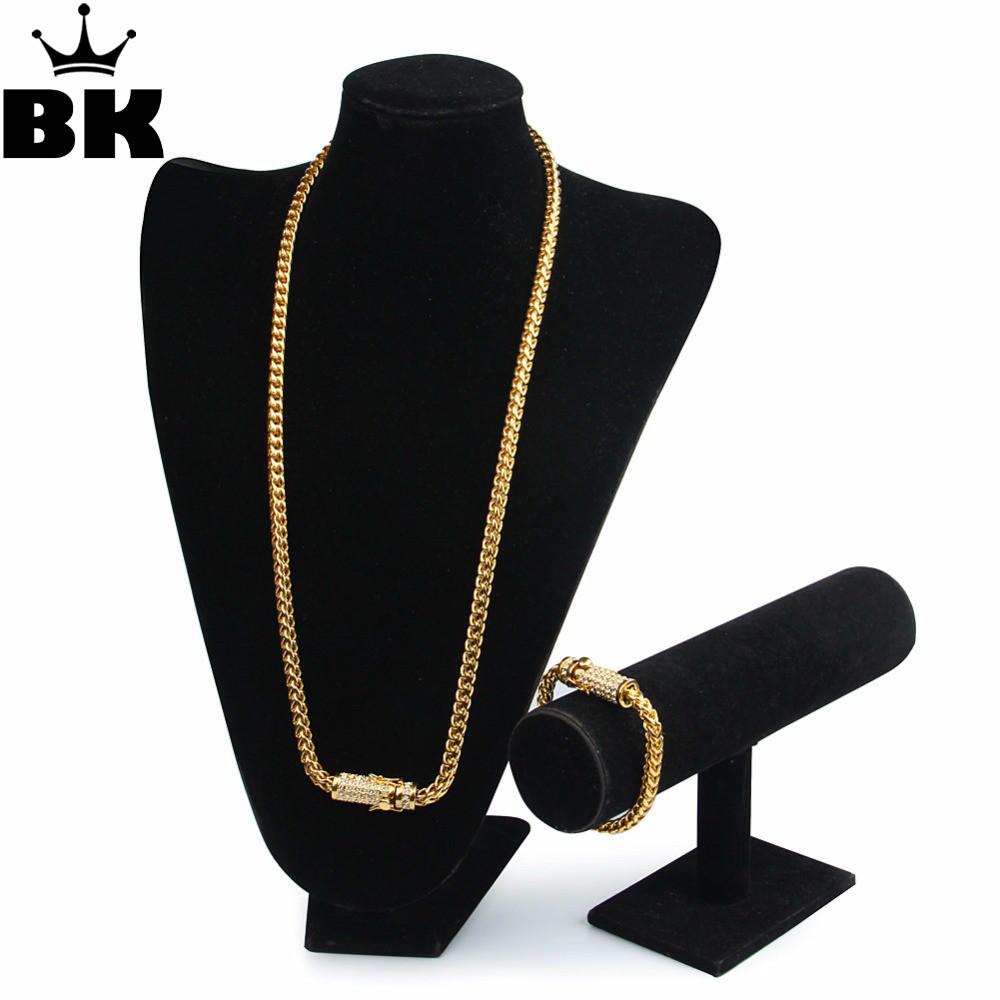 Hip Hop 6mm Wheat Chain Set Stainless Steel Iced Out Rhinestone Luxury Box Clasp Necklace 73cm & Bracelet 20cm Franco Chain