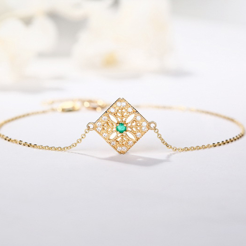ANI 14K Yellow Gold Women Bracelet Natural Emerald Fine Color Gemstone Jewelry for Women Romantic Engagement Bracelet Gift in Bracelets Bangles from Jewelry Accessories