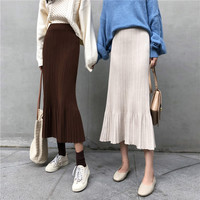 Korean Women Autumn Bodycon High Elastic Waist Pleated Long Pencil Skirt Female Mermaid Knitted Midi Skirts Jupe Longue Femme