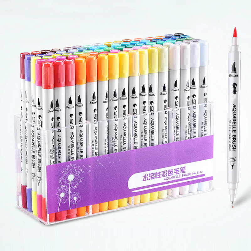 12-100Pcs Dual Tips Head Sketch Pens Soft Fine Art Markers Drawing Watercolour