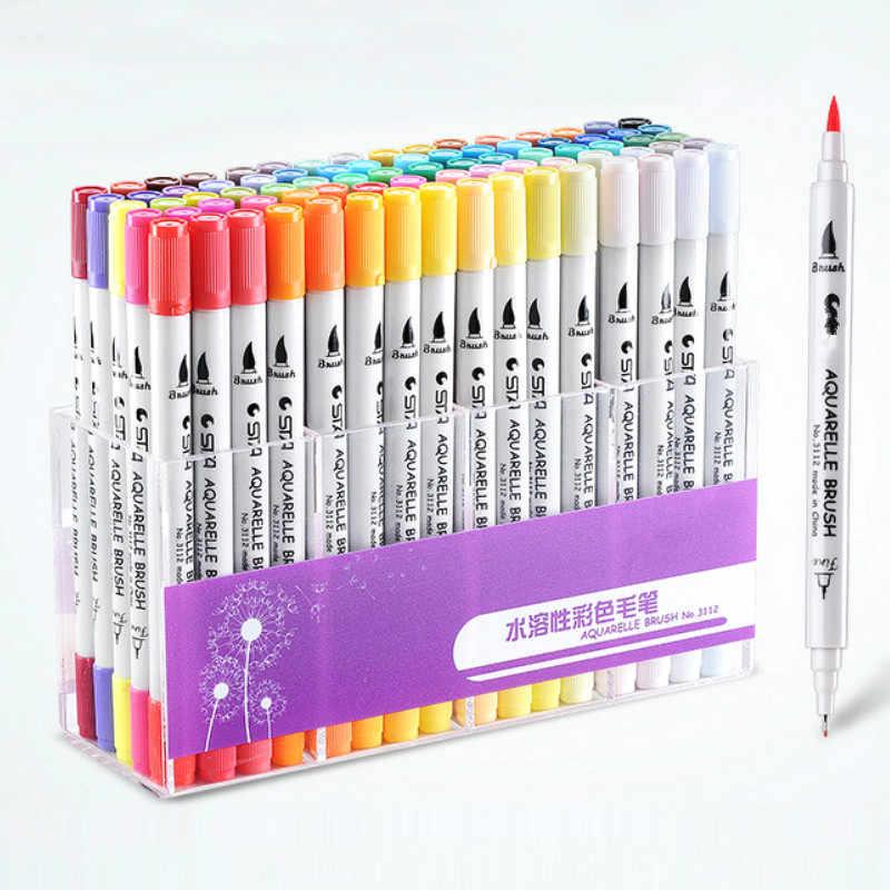 80 renk çift kafa belirteçleri suluboya fırçası kalem seti Waterbrush işaretleri profesyonel çizim sanatçı İşaretleyiciler sanat malzemeleri