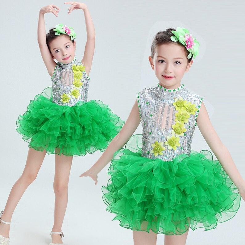 Современные детские танцевальные костюмы для детей; танцевальное платье-пачка с блестками для девочек; танцевальное платье для сальсы для девочек; Одежда для танцев - Цвет: Зеленый