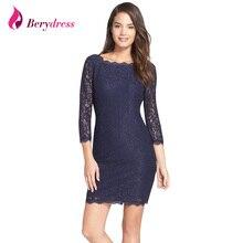 Berydress New Fashion Women Dress Sexy Bodycon Sheath 3/4 Sleeve Full Zip Back Hot Selling Short Lace Dresses 2017 S-XXXL