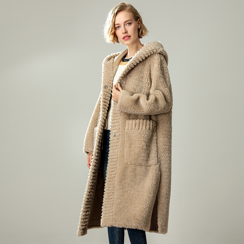 100% Natural Lambswool Fur Coat Hooded Warm Winter Long Parka Female Fur One Overcoat Women Sheep Shearing Coats Woman Wool Coat