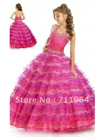 rosy beautiful 2013 tiered ball gown christmas pageant
