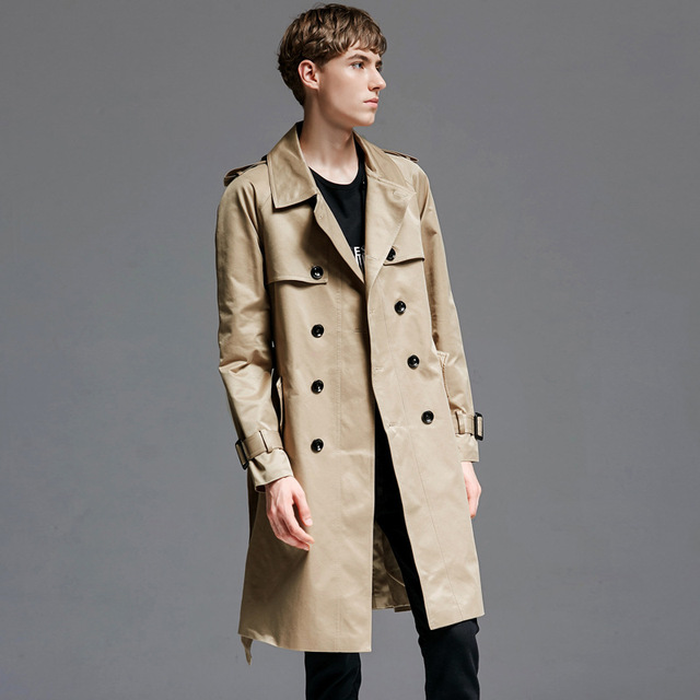 9a8c05afe97 Plus Size 5XL 6XL 2018 Spring Autumn Classic Khaki Double Breasted Trench  Coat Men England Style Mens Long Coats Men s Overcoat