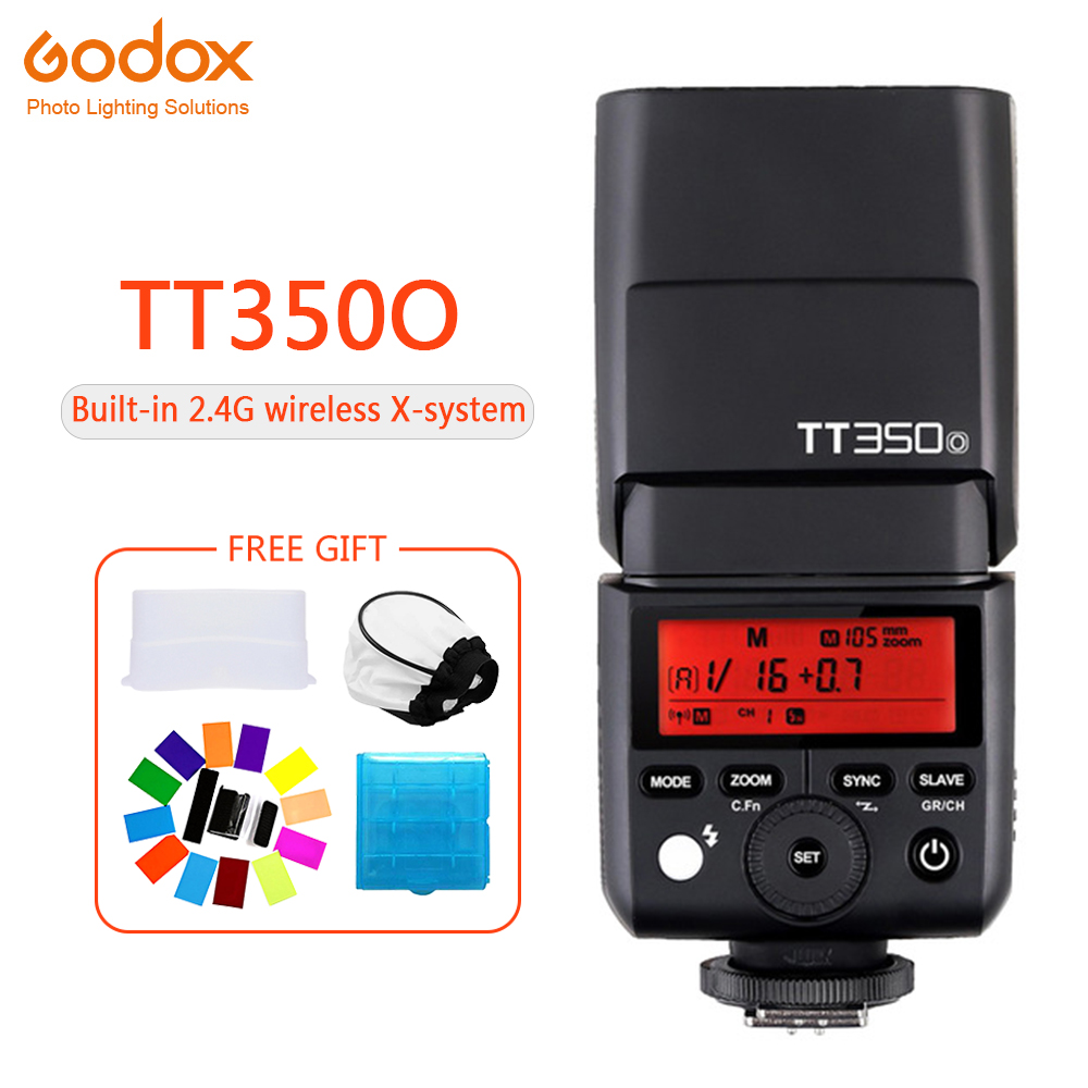 <font><b>Godox</b></font> Mini TT350 TT350O Speedlite flash TTL HSS 1/8000s 2.4G Wireless Camera photography for Olympus E-M10 E-M5 II E-M1 e-PL8 image