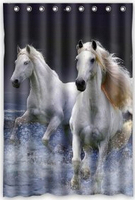 Running Horse On Sea Water Polyester Bathroom Shower Curtain 48 W X72 H Comfortable For Life