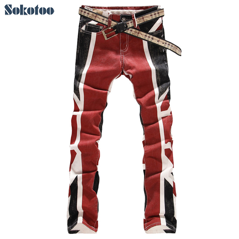 ФОТО Sokotoo Free shipping COOL Elastic jeans male slim English flag colored drawing straight men's print jeans flower denim pants