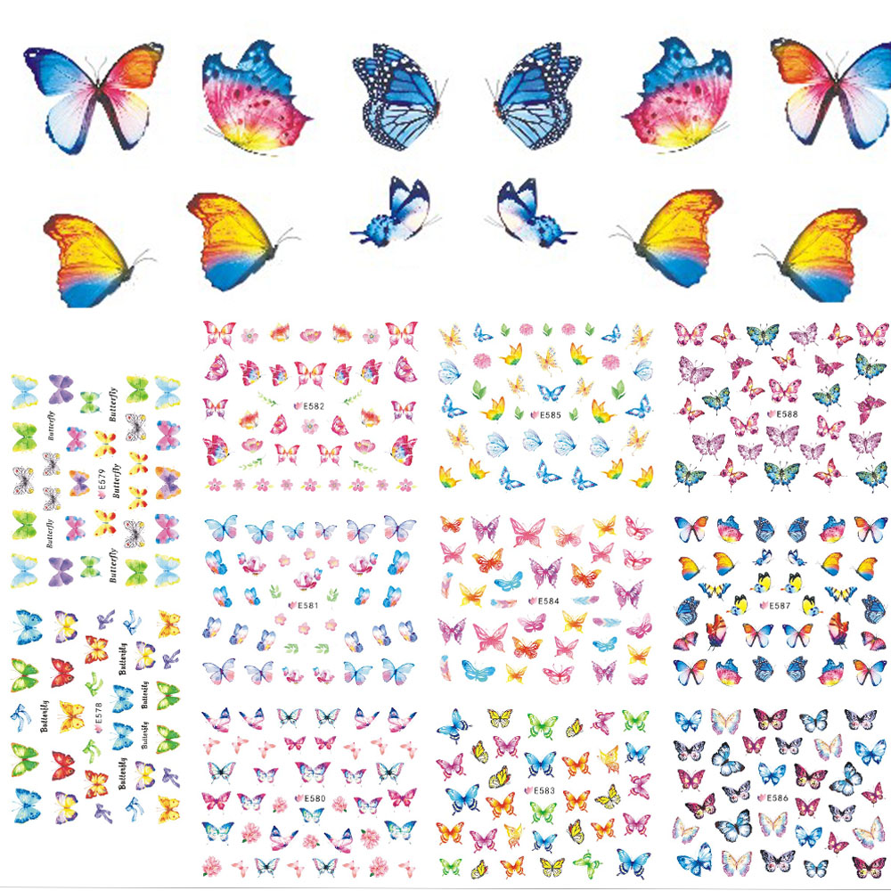 11 Designs/Sets Summer Nails Butterfly Colorful Adhesive Sticker Decals for