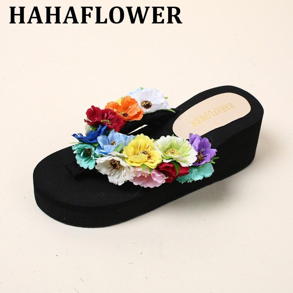 Hahaflower Women Flowers Sandal Home Flip Flops Slippers -6548