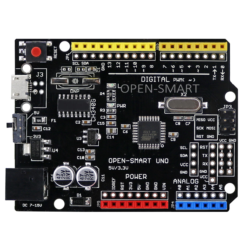 OPEN-SMART Micro UNO ATMEGA328P Development Board for Arduino UNO R3 Improved version driver chip is CH340G, 5V /3.3V compatible atmega328p mcu development board compatible with uno r3 io expansion shield sensors pack uno plus package a