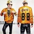 Сценическое повседневная золото блесток куртка певица dancer показать мужской DS танцевальные костюмы верхняя одежда пальто DJ джаз производительность ночной клуб бар