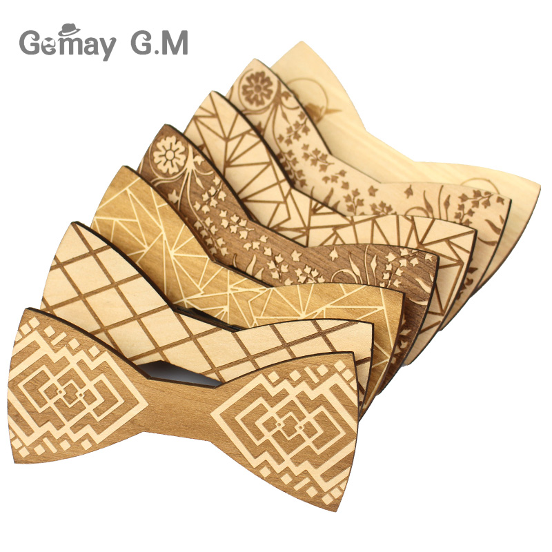 Fashion Wood Bowties For Men Mens Plaid Bow Ties Gravatas Corbatas Business Butterfly Cravat Tie For Party Wedding Wood Ties