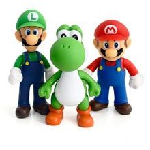 Super Mario Bros Mario Yoshi Luigi Figura de Acción de Resina Modelo de Juguete de Colección 12-13cm Juguetes Divertidos para Colección Día del Niño