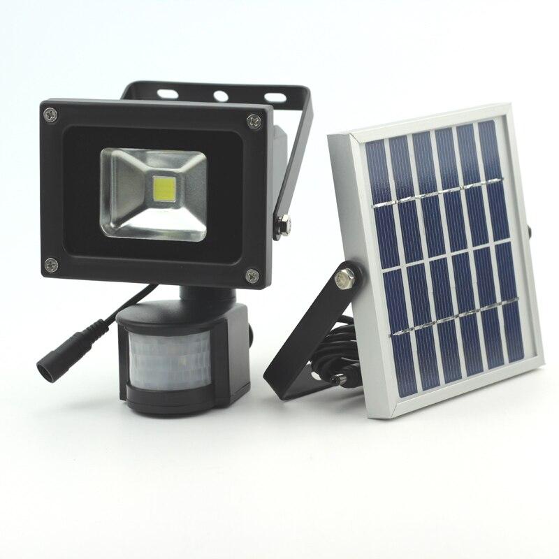 10 W COB LED Luz de movimiento Solar LED de seguridad de inundación Luz de jardín Pir Sensor de movimiento LED luz Solar impermeable