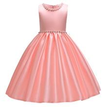 פרח ילדה מסיבת גבוהה סוף משי סאטן שמלת חתונת שושבינה ילדה הרשמי המפלגה שמלת ילדה של יום הולדת משתה מסיבה שמלה