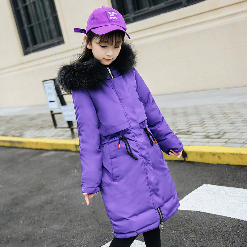 Winter  down jacket new girls mid-length down jacket Korean version of the big hair collar hoodie jacket childrens down jacketWinter  down jacket new girls mid-length down jacket Korean version of the big hair collar hoodie jacket childrens down jacket
