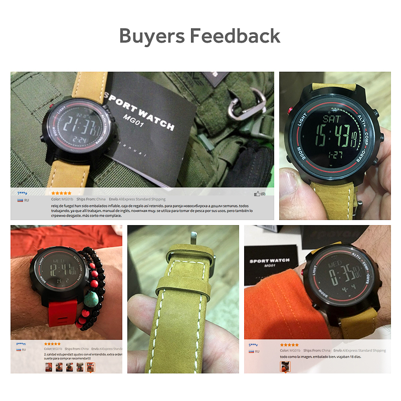 Digital Watches Official Website Spovan Mens Watch With Genuine Leather Band 50m Waterproof Sport Watches Compass Led Backlight Multifunction Wristwatch Mg01b