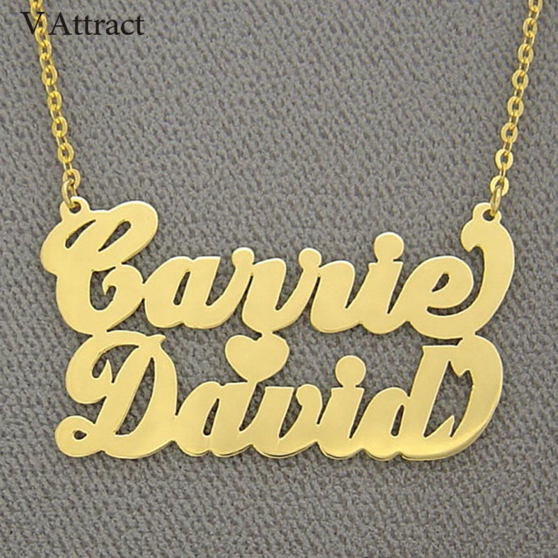 V Gewinnen Herz Charm Halsreif 2018 Rose Gold Personalisierte Name Halskette Für Frauen Typenschild Schmuck Cursive Doppel Namen Collares