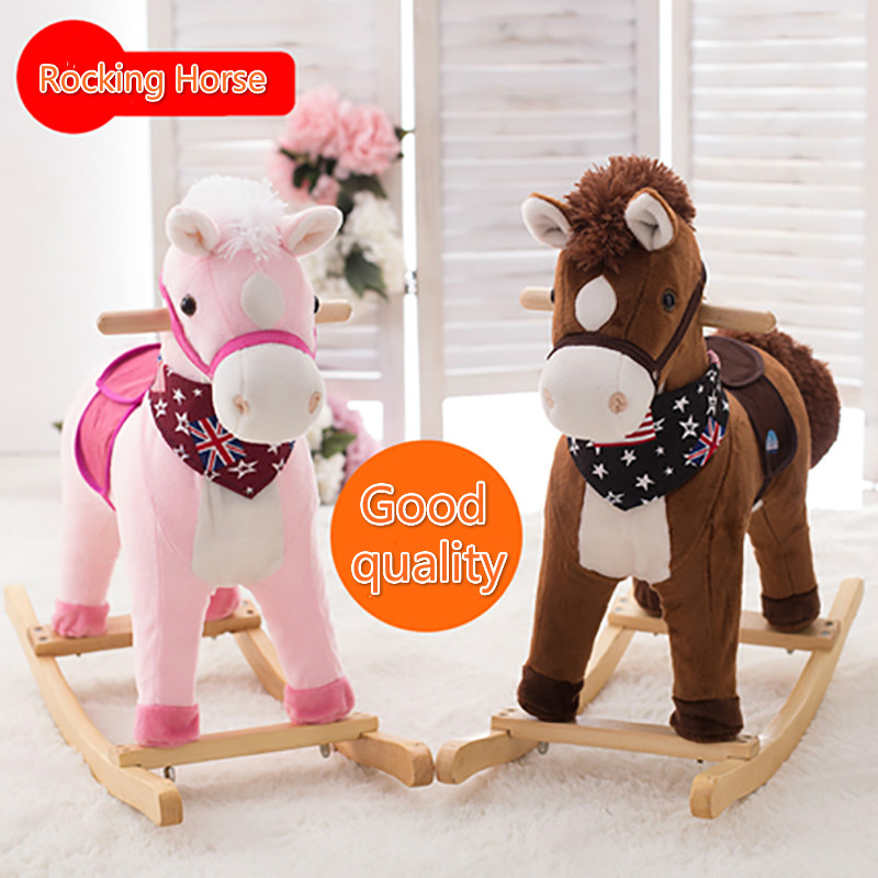 Plush Animal Rocking Chairs Living Room Chair Cover Toy Creative Gift Classic Horse Wooden Plastic Kids Toys For Children 1pc