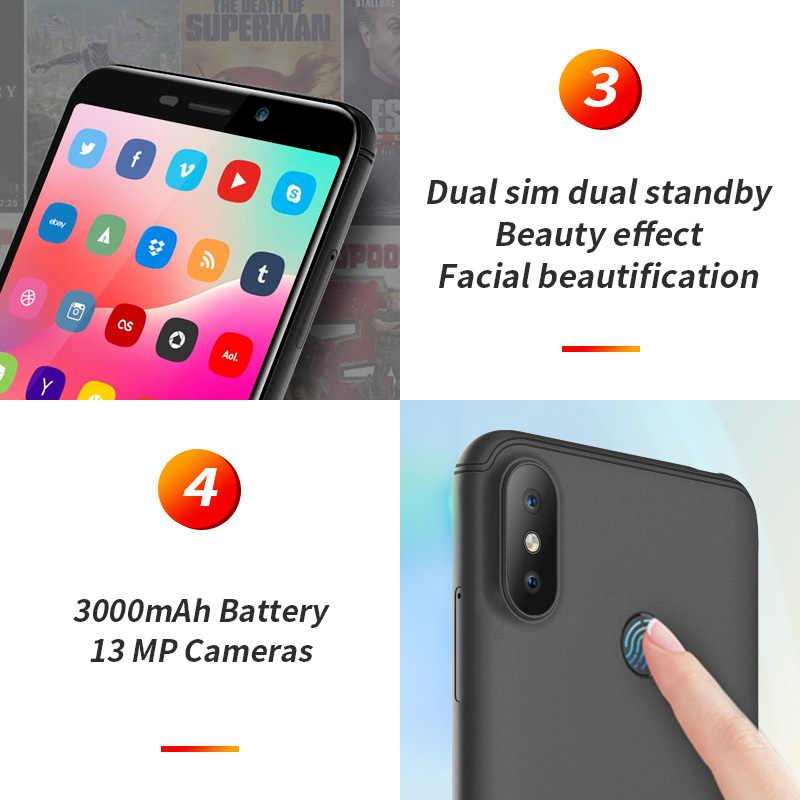HOMTOM C1 1GB RAM 16GB ROM Quad Core téléphone portable 5.5 pouces 18:9 affichage complet 13MP arrière caméra Smartphone empreinte digitale