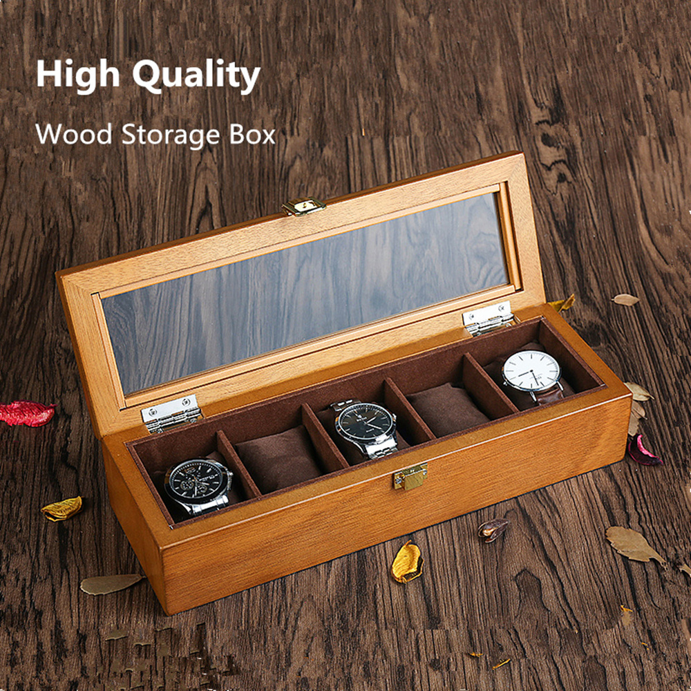YA 5 Slots Wood Watch Boxes Case European Style Organizer Storage Jewelry Display