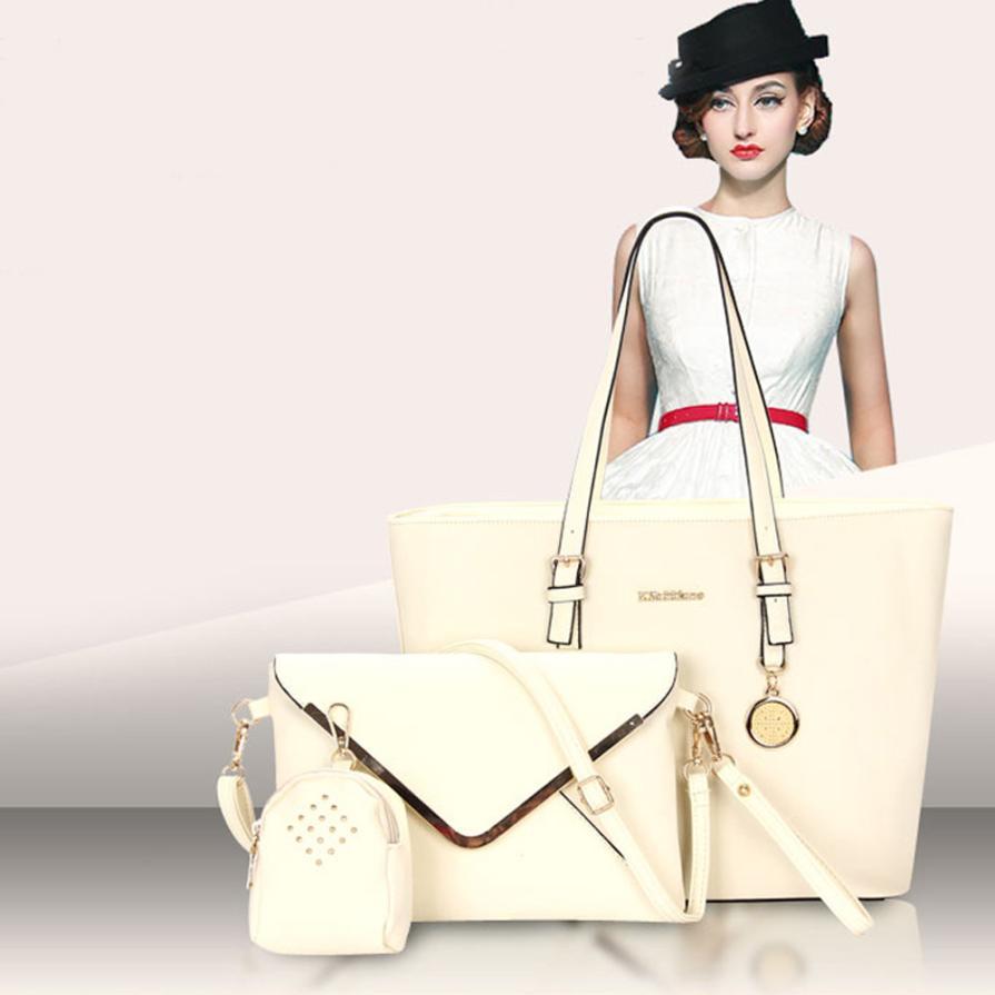 Woman Bags 2017 New Solid Purses+Shoulder +Handbag 3 PCS/Set Luxury Women Designer Handbags Quality Sac a Main Composite Bag