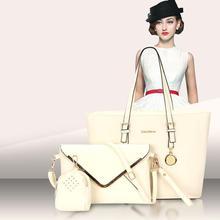 Bolsas de mujer 2017 Nuevo Sólido Bolsos de Hombro + + Bolso 3 Unids/set Lujo Diseñador de Las Mujeres de Calidad Bolsos Sac a Principal compuesto Bolsa