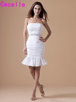 White Short Cocktail Dresses Ruched Beaded Strapless Prom Party Dresses Juniors Knee Length Party Dresses Custom Made 2019
