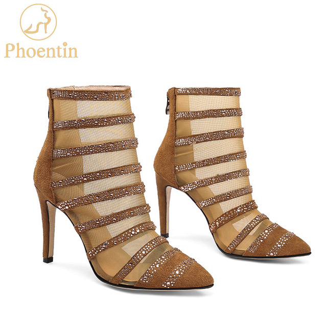 Phoentin yellow summer boots sandals 2018 with zipper mesh Gladiator ankle boots with crystal High Heels transparent shoes FT398