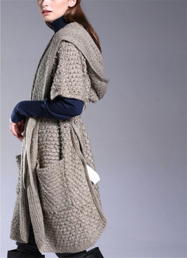 US $160.0  Lana di alta moda mohair miscela maglia di modo delle donne con cappuccio cardigan lungo cappotto del maglione a manica corta ML in