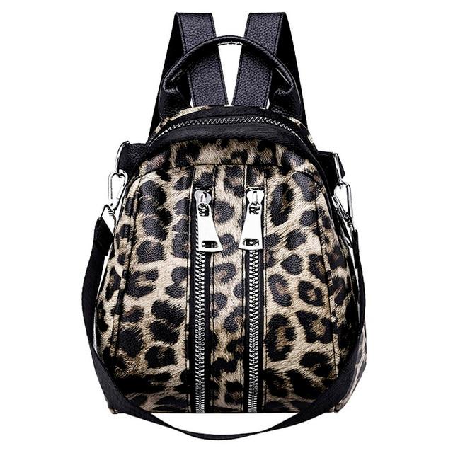 bolso escuela leopardo para mujer de estampado con cuero 2018 de de OqU7g